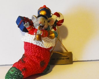 Vintage Christmas Collectibles Limited Edition Dayton Hudson Mouse in Stocking 1998 series Christmas Ornament