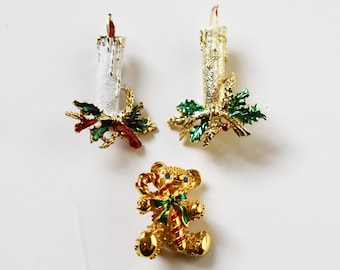 3 Vintage Christmas Brooches   Christmas Collectibles   Vintage Candle Brooch   Vintage Teddy Bead Brooch   Holiday Collectibles
