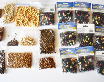 Bulk Wood Craft Beads, Macrame Beads, Colored Wood Beads, Assorted Wood Beads
