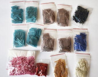 Bulk Lot Tube Beads, Tube Beads for Jewelry Making, Glass Assorted Colors Tube Beads