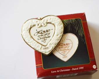 Vintage Carlton Cards Collectible Christmas Ornament Love at Christmas 1995