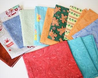 Fat Quarter Fabric Bundle, Christmas Fabric, Quilting Fabric, Fat Quarters