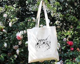 Katze Einkaufstasche Baumwolle Tasche Katze Tasche Siebdruck Katze Katze Zubehör Katze Geliebte Katzengeschenke