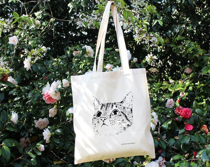 Cat Tote Bag Cotton Tote Bag Cat Bag Screen Printed Cat Cat Accessories Cat Lover Cat Gifts