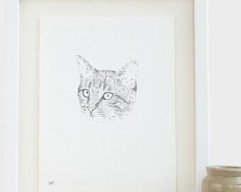 Katze Zeichnung Original maßgeschneiderte Katze Zeichnung Tierportrait Kätzchen Zeichnung Haustier Zeichnung Katze Illustration niedlich Tierportrait Katze Zeichnung