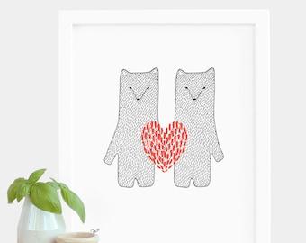Valentinstag Druck rot Liebesherz trägt Druck A5 Risograph Print Engagement Druck Hochzeit Geschenk Jahrestag Druck Geschenk Tiere Bären