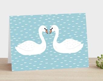 Schwan Jahrestag Karte Schwan Hochzeit Karte Schwan Engagement Karte Blue Sky Karte verliebte Schwäne Karte Natur inspiriert Karte Schwäne küssen Karte