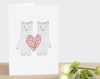 Valentinstag-Bär Karte zum Valentinstag rotes Herz Karte Bär Valentinstag trägt zwei Karte Bär mit Herz-Karte-Bär-Jahrestags-Karte