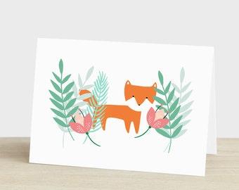 Danke Karte Fuchs danke Karte botanische danke Karte Fuchs Karte Fox Ich denk an dich Karte leer Fox Dankeschönkarte Pflanze Liebhaber