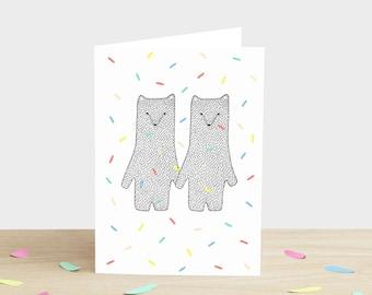 Hochzeit Herzlichen Glückwunsch-Karte-Bären bekommen verheiratet Engagement Karte Feier Konfetti Karte Ehe Karte Hochzeit Bär Karte