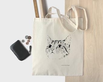 Baumwoll-Tragetasche Katze Kätzchen Einkaufstasche Katze Einkaufstasche Kitty Cat Tasche Katze Gesicht Katze Liebhaber 100 % natürliche Bag Markttasche