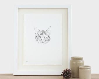 Katze Original Zeichnung maßgeschneiderte Katze Kätzchen Kitty Haustier Tier Katze Zeichnung Illustration