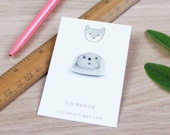 Fischotter Pin Badge - neugierig Otter Pin Badge - Emaille Pin - Pin Badge - Emaille Schmuck - Anstecknadel
