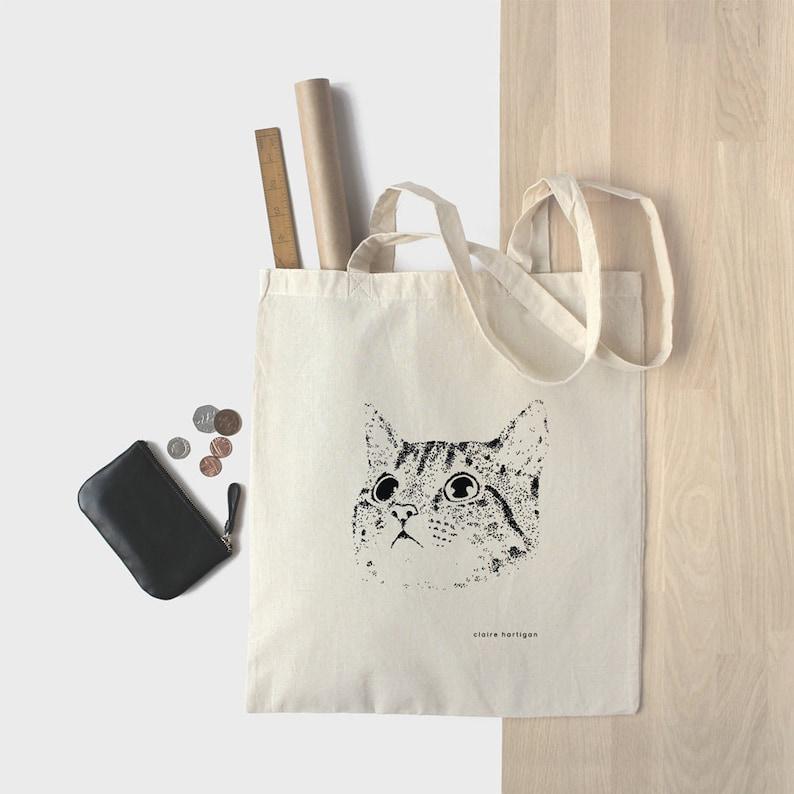 2bfafff46d21 Cotton Tote Bag Cat Bag Kitten Shopping Bag Cat Tote Bag Kitty