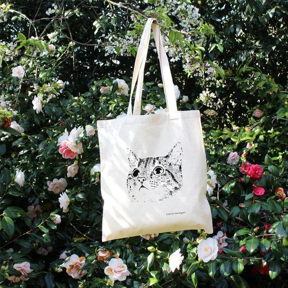 7e7abfb77838 Cat Tote Bag Cotton Tote Bag Cat Bag Screen Printed Cat Cat
