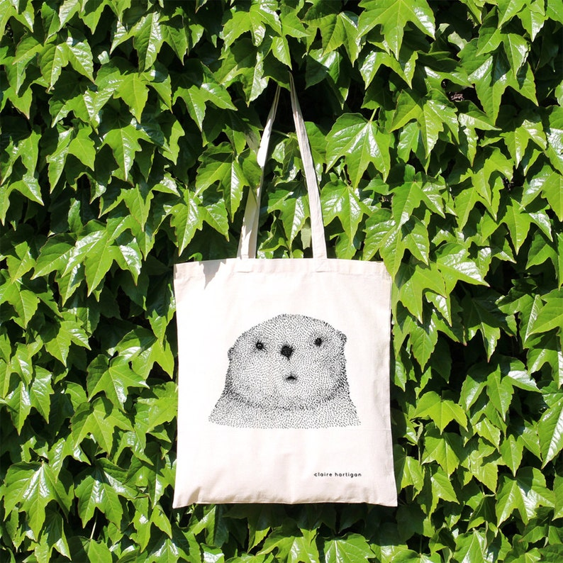 Tote Bag Curious Otter 100% Natural Cotton Long Handles Otter image 0
