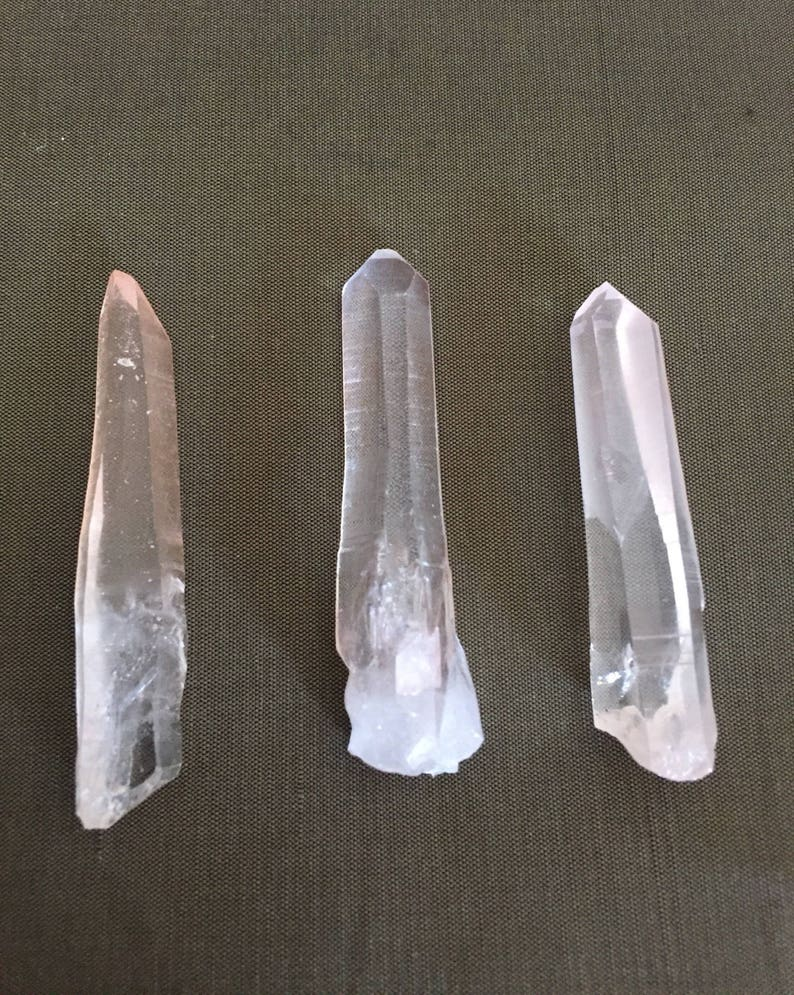 For Sale 3-pc Set M-size Pink Lemurian Crystal from Brazil  Lovely  Crystals  Healing/Charms/Rocks Collection SN413g