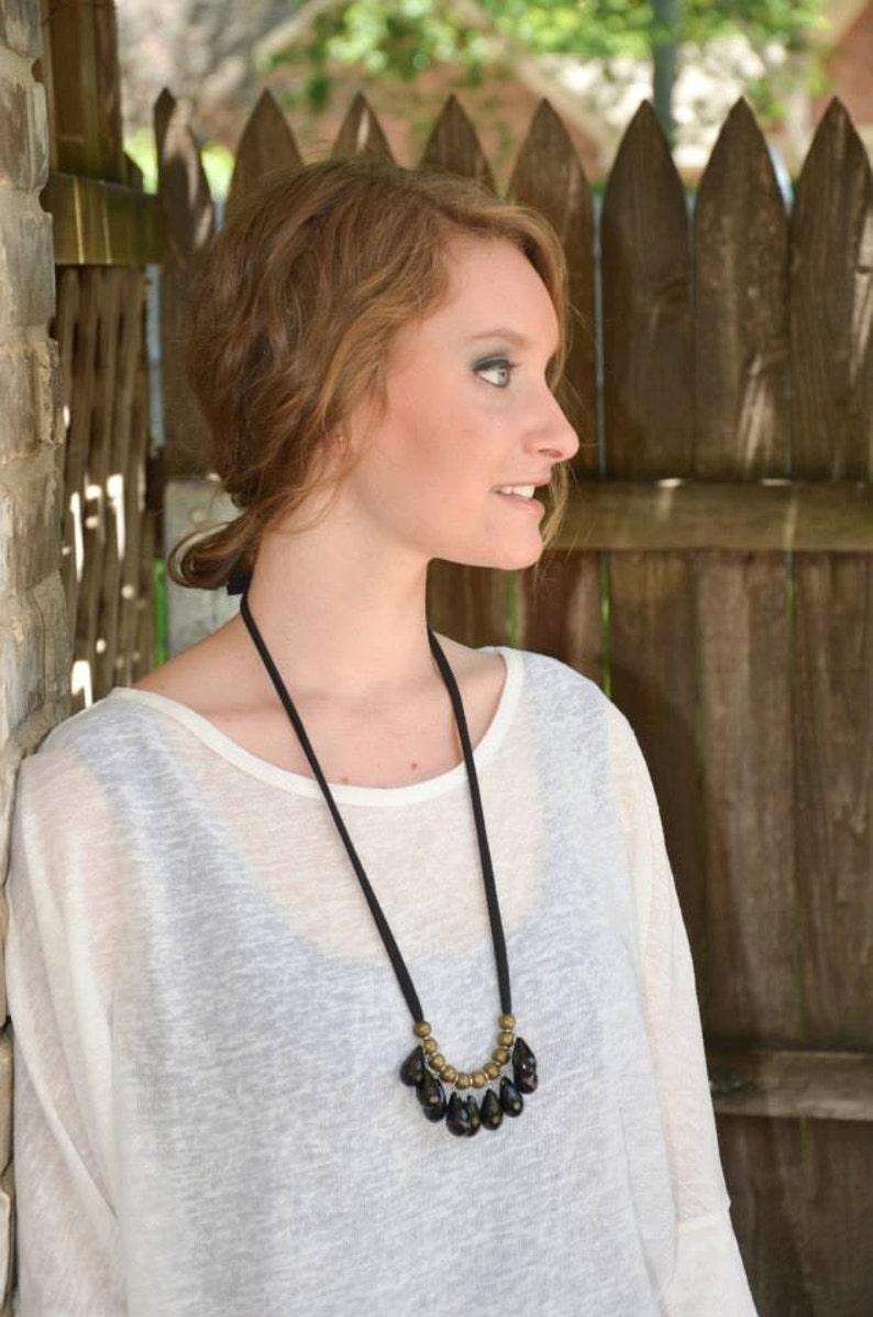 black / brass / black cotton jersey necklace image 0