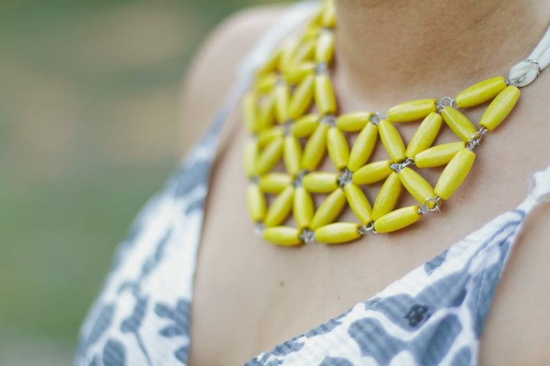 golden yellow custard rice wooden geometric mosaic necklace image 0