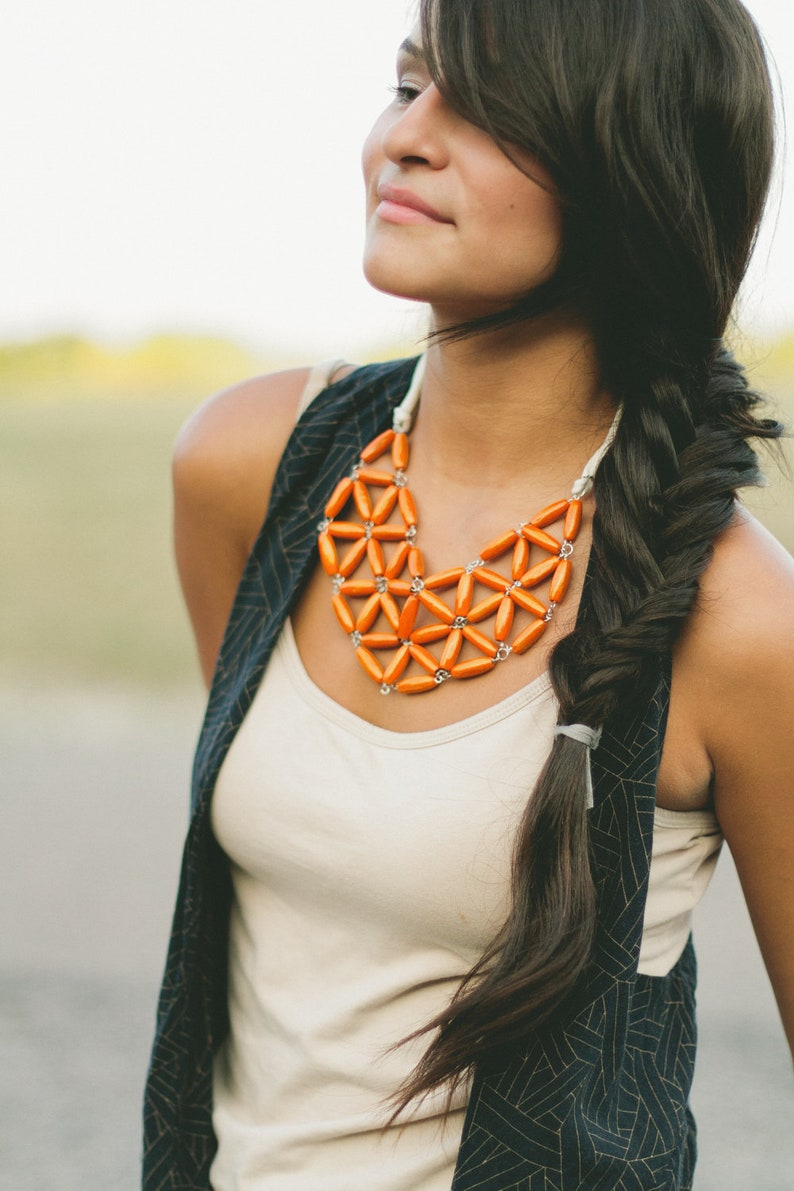 orange rice wood geometric mosaic necklace image 0