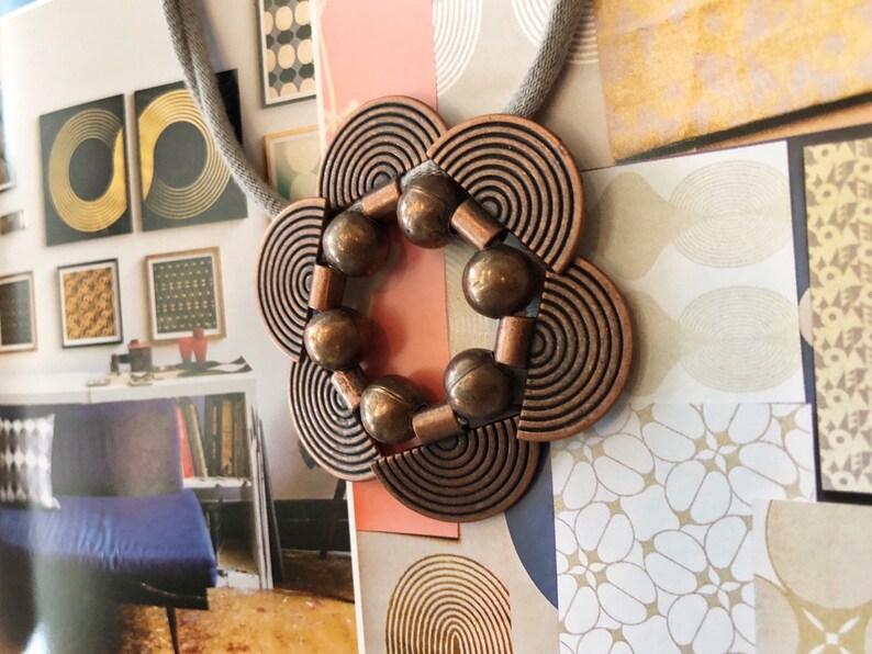 Sakura copper pendant with black organic cotton // modern // image 0