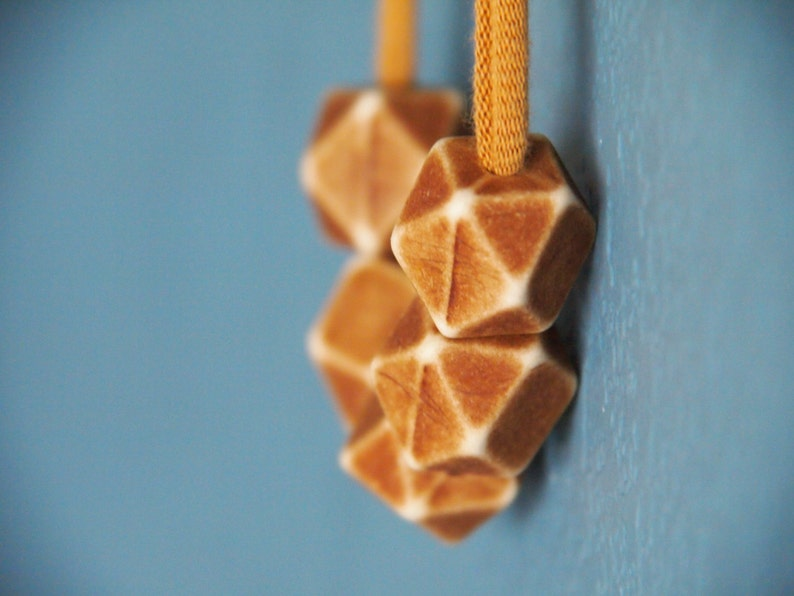 brown minimalist polyhedron necklace  geometric  modern image 0