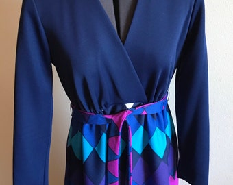 4b70309cb64429 Vintage JC Penney Fashions 1970 Maxi Mod Navy Purple Dress