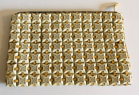 Plasticflex Cream Beige Tile Vintage Clutch Purse