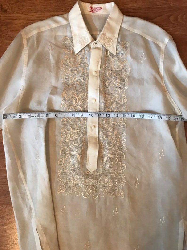 Unique Vintage Tesoro/'s Manila Shirt Unisex Hand Embroidered