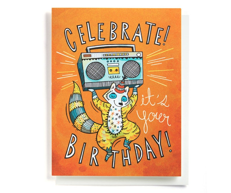 Birthday Card Boom Box Celebration Illustrated And Hand Lettered In Orange Yellow Blue