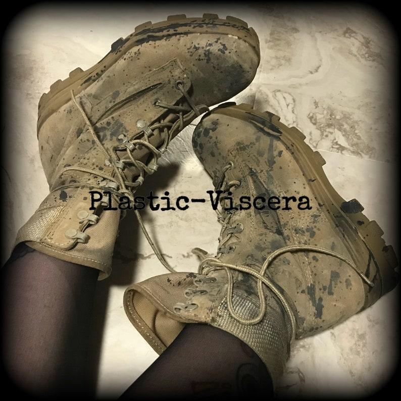 deb0bf696a9 Hand Distressed Splatter Industrial Tank Girl Steel Toe Boots