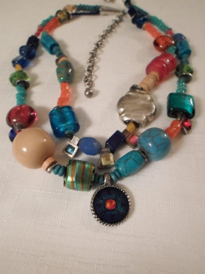 ART GLASS NECKLACE  Choker  Multi-Color  Rainbow  Boho  Moroccan  Tribal  Primitive  Hip  Fashionista  Trendy  Chunky  Accessory