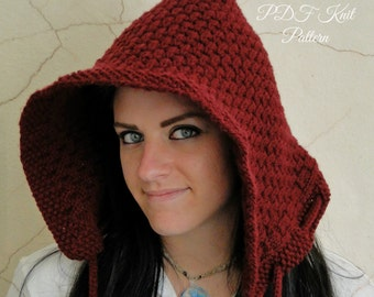 Pixie Hood, Elf Hat in Burgundy Honeycomb Design