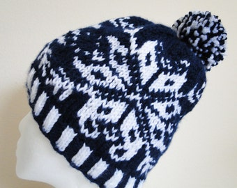 Blue and White Knit Fair Isle Hat
