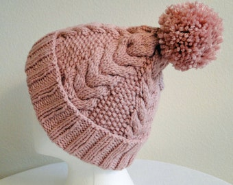 Rose Cable Hand Knit Winter Hat with Pom Pom