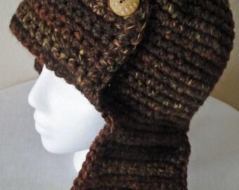 Crochet Chocolate Aviator Hat