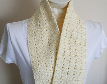 Scarf Crocheted in Ivory Yarn with a Twin Stitch Pattern