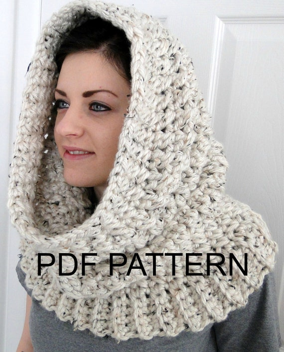 PDF PATTERN ONLY Hooded Neck Warmer Cowl Scarf for Women ...