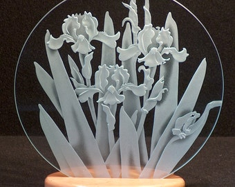 Carved Glass Iris and Frog 12 Inch Circle with Base