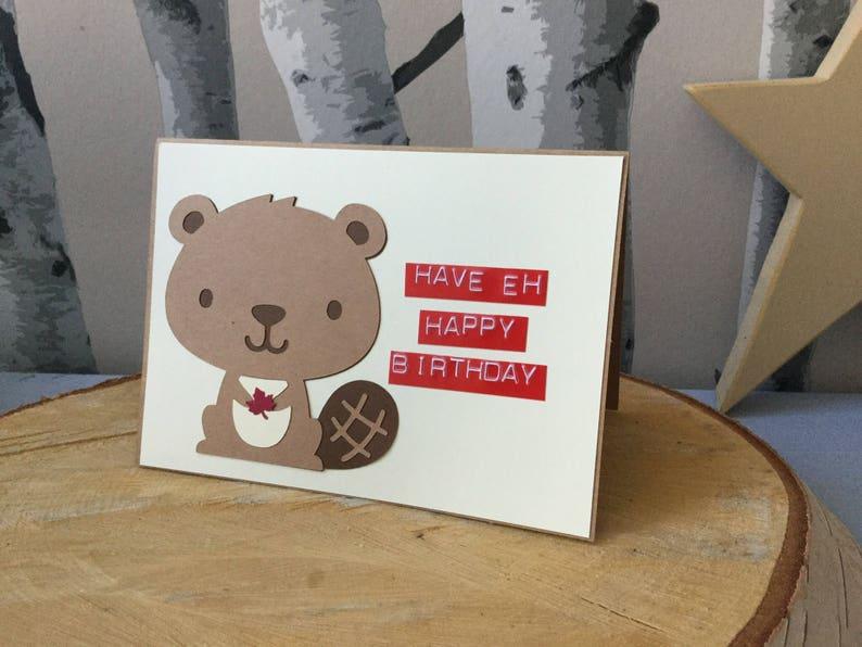 Canadian Birthday Card Canadiana Beaver Happy