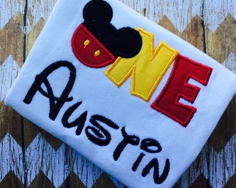 Personalized Boutique Mickey Mouse First Birthday Shirt
