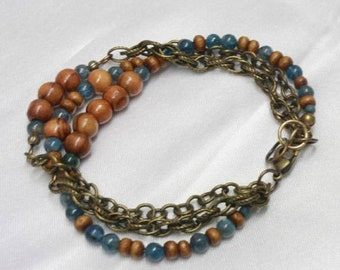 SALE EXTENDED BRACELET Three Strand Blues and Browns Antique Brass Chain