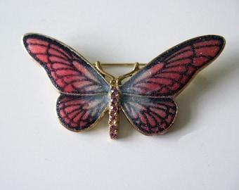 Vintage butterfly brooch pin orange