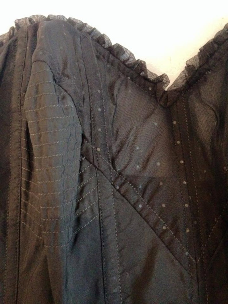 Longline circle stitch bra Black vintage 50s 60s