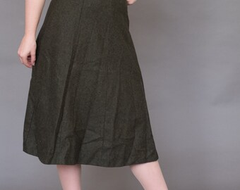 """50s wool highwasited forest green skirt A-line S 26"""""""