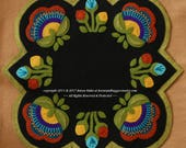 Wool applique PDF e-PATTERN quot Jacobean Round Square quot table topper runner embroidery pattern penny rug candle mat wool felt wool quilt block