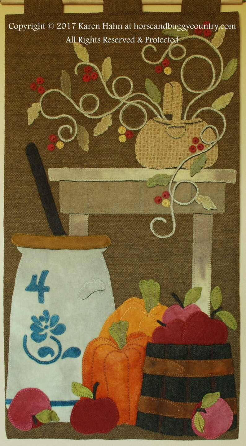 Wool applique PATTERN or KIT pumpkins apples