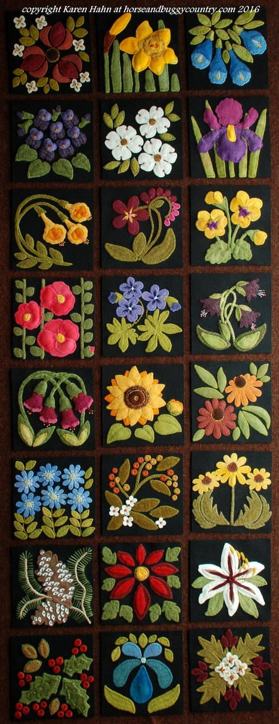 Wool applique PATTERN /&or KIT Cherries and Blossoms from the series My Kitchen Garden hand dyed wool felted wool felt quilt quilting