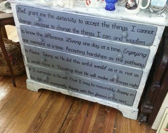 SERENITY PRAYER OOAK Dresser Rustic Black White Crackled Vintage Shabby Chic Distressed Buffet Sideboard Salvaged Refinished Whagn