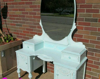 Circa 20's Antique Turquoise Vanity Salvaged Shabby Chic Dressing Table Distressed Refinished WHAGN